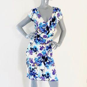 Joseph Ribkoff Floral Fitted Surplice  Dress